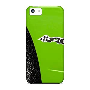 Iphone 5c Hard Back With Bumper Silicone Gel Tpu Case Cover Green Acr Side Close Up