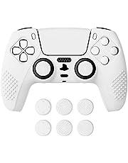 eXtremeRate PlayVital vit 3D dubbad utgåva halkfritt silikonskydd för PlayStation 5-kontroll, mjukt gummifodral för PS5 trådlös styrenhet med 6 vita tumgrepp kepsar