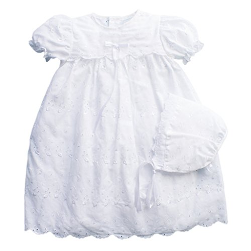 Eyelet Christening Baptism Gown with Slip and Bonnet - 3 Month by Petit Ami