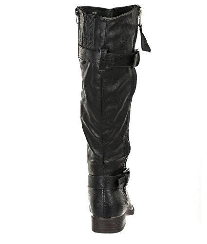 Damesshirt Met Zijwaartse Rits Op Kniehoge Gevechten Rijlaars Pita-18 Zwart