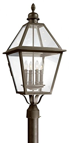 (Troy Lighting Townsend 4-Light Outdoor Post Lantern - Natural Bronze Finish with Clear Glass)