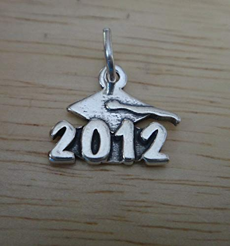 2012 Graduation Charm - Sterling Silver 15x15mm 2012 Graduation Cap College High School Year Charm!! DIY Crafting by Wholesale Charms