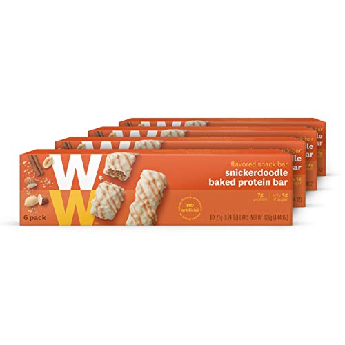 WW Snickerdoodle Baked Protein Bar – Cinnamon & Brown Sugar High Protein Snack Bar, 3 SmartPoints – 4 Boxes (24 Count Total) – Weight Watchers Reimagined