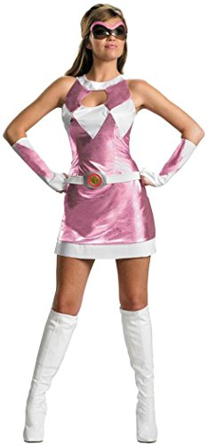 Disguise Women's Saban Power Rangers Mighty Morphin Pink Ranger Sassy Deluxe Costume, Pink/White, -