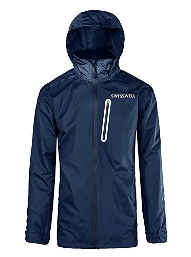 Waterproof Hooded Rain Jacket, Lightweight Packable Raincoat for Outdoor, Camping, Travel (B-Navy (Rain Jacket), XX-Large) ()