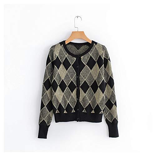 de femmes Color gomtrique court Black Le fil l'automne chandail en imprim Size pour mtallique L Black tricot 77zvRwq1