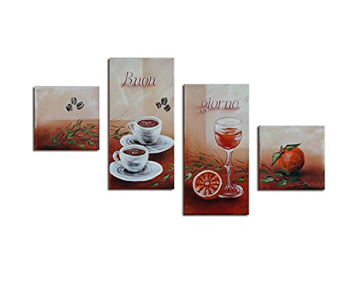 Noah Art-Modern Abstract Canvas Art, Orange Juice and Coffee Artwork
