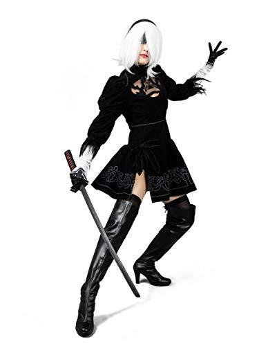 Cosfun NieR: Automata Yorha 2B Cosplay Costume mp003590 (S) Black