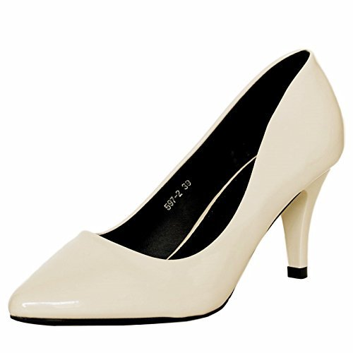 Rock on Styles Ladies Women Patent Low Mid Heel Evening Party office Casual Court Shoes Pumps Size-5972 Nude 8Lp6Zgm9u