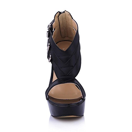 Shoes Sandals 4U 14CM Rubber Best Bow Peep 3CM toe Black Premium Pumps PU Women's Platforms Summer Sole Heels High ACCtdxwTq