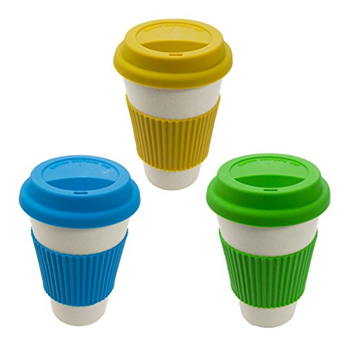 3 Bamboo Biodegradable Travel Mug Tumbler Eco-friendly Renewable Reusable 14oz ()
