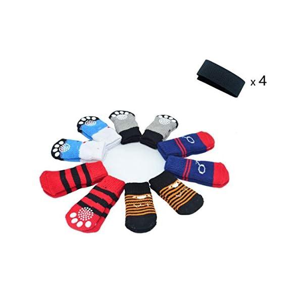 LFPET Traction Control Cotton Socks Indoor Dog Nonskid Knit Socks 5 Pairs Random Color – L