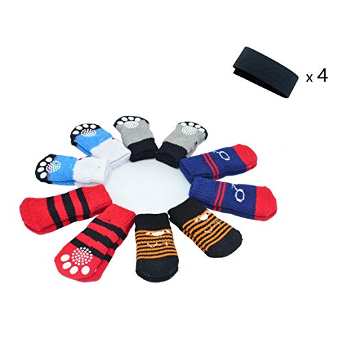 LFPET Traction Control Cotton Socks Indoor Dog Nonskid Knit Socks 5 Pairs Random Color - L