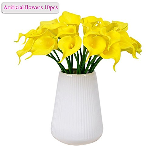 Stem Long Lilies Pink Calla (Artificial Flowers, Meiwo 10pcs Artificial Calla Lily Flowers Full Bloom Artificial Latex Real Touch Flowers for Home Decor, Parties, Offices, Restaurants(Yellow))