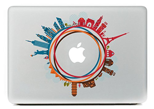 Last Innovation Famous buildings over the world Removable Vinyl Decal Sticker Skin for Macbook Pro Air Mac 13