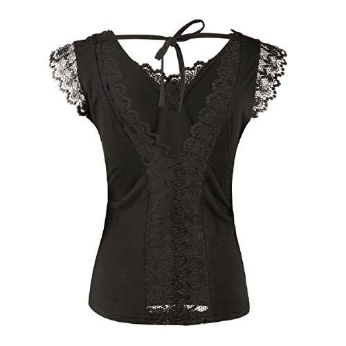 Tops for Women LJSGB Ladies V Neck Tops Ladies Lace Tops Chiffon Bluses Ladies Evening Tops Ladies Summer Tops Bluses Black