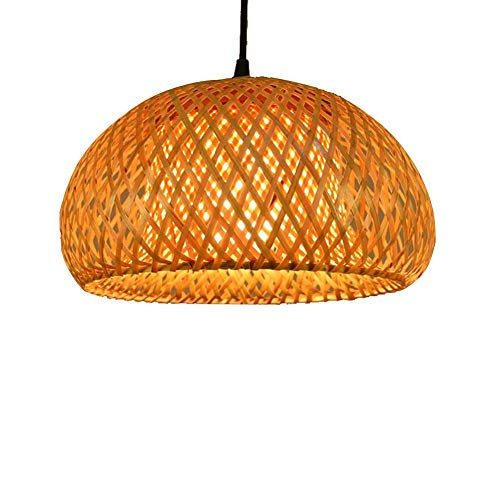 (Sunny Hill Chinese Hand Knitted Bamboo Pendant Lamp LED Bamboo Lantern Shades Restaurant Dining Room Lighting Fixtures (Without Bulb) (Style)