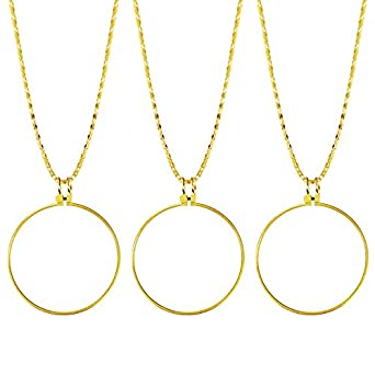 Teemico 3 Pieces 5X Power Magnifier Glass Necklace Magnifying Pendant 42 mm  Lens 91 cm Chain 1b2c56ccdd8