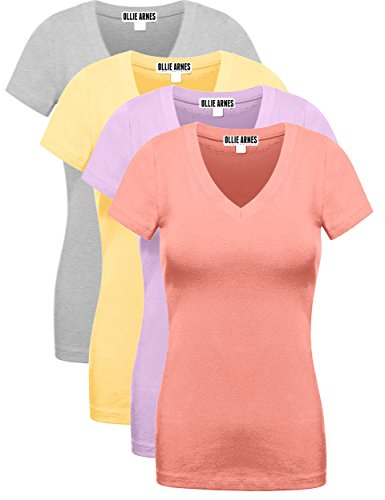 OLLIE ARNES Women's 4 Pack Essential Cotton Short Sleeves Solid V-Neck T-Shirts 4PK Lav_arose_Ban_HGREY - Ban S