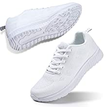 STQ Women's Athletic Walking Shoes Casual Mesh Comfortable Jogging Sport Walking Work Sneakers Gym Fitness 8 White