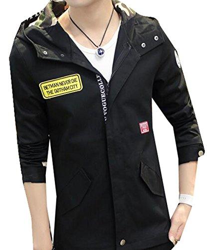 XQS Men Fashion Korean Slim Hooded Jacket Coat black L