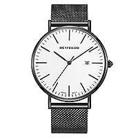 BETFEEDO Men's Wrist Watch, Black Fashion Date Slim Analog Quartz Watches with Stainless Steel Mesh Band (Black/White)