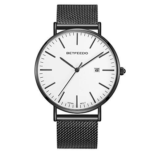 Betfeedo Men's Wrist Watches Ultra-Thin Quartz Analog Watch with Stainless Steel Mesh Band