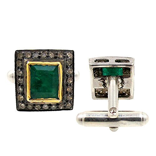 chanvanworld Rose Cut Diamond 925 Sterling Silver Emerald Vintage Style Gift Cufflinks For Men