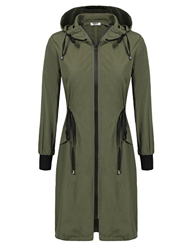 - ELESOL Women's Lightweight Hooded Waterproof Active Outdoor Rain Jacket,Army Green XL
