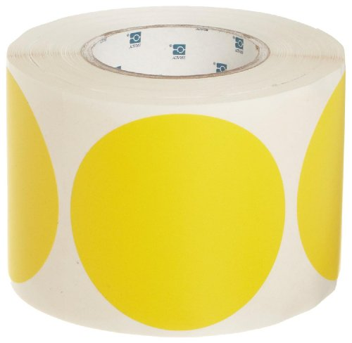 Brady 4'' Diameter, B-933 Vinyl Tape, Yellow Vinyl Aisle Marking Dots (Pack Of 500) by Brady