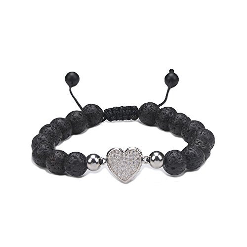 (Jeka Lava Rock Love Heart Charm Bracelet for Women Girls Anxiety Aromatherapy Essential Oil Diffuser Natural Stone Adjustable Balance Yoga Meditation 8mm Mala Beads Energy Jewelry)