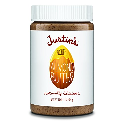 - Honey Almond Butter by Justin's, No Stir, Gluten-free, Non-GMO, Responsibly Sourced, 16oz Jar