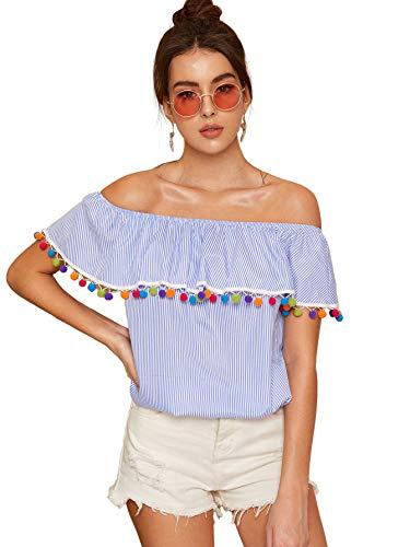 (SheIn Women's Off The Shoulder Ruffle Tassel Scalloped Hem Blouse Top X-Large Blue )