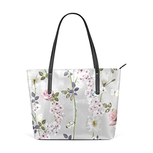 Handle Women's Purses Handbag Top TIZORAX Totes Floral Bags Butterfly Leather Shoulder Fashion PU EOx87Rqw