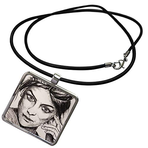 (3dRose ChristopherCrouchArt - Carcoal - Portrait of Girl Charcoal - Necklace with Rectangle Pendant (ncl_309843_1))