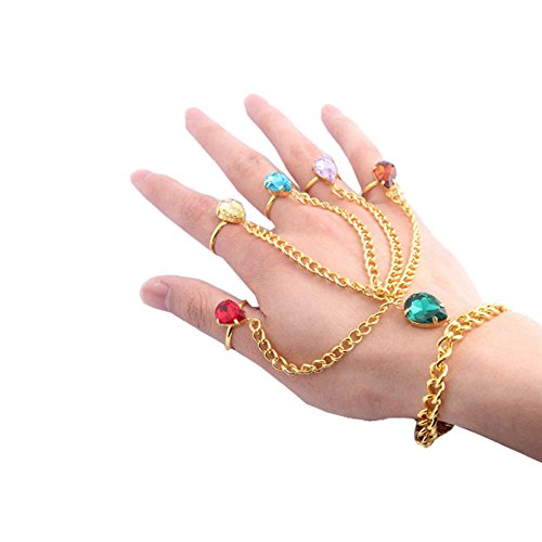 (CHOP MALL Infinity Six Rhinestones Beads Hand Finger Ring Bracelet Infinite Stone Soul Gems Cuff Wrist Chain Slave Bracelet for Women Man)