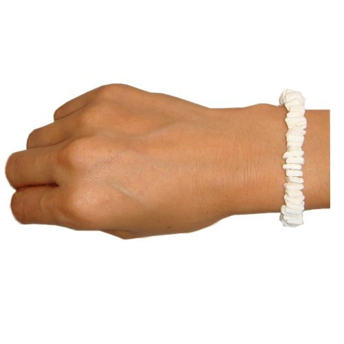 All White Chips Puka Shell Hawaiian Surfer Beach Elastic (Puka Shell Bracelet)