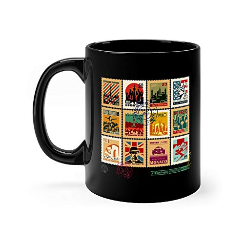 Postage Stamps Cities Of The World Vintage Travel And Badges Set Seal Postmark North Africa Coffee Mug Cup Ceramic 11 Oz