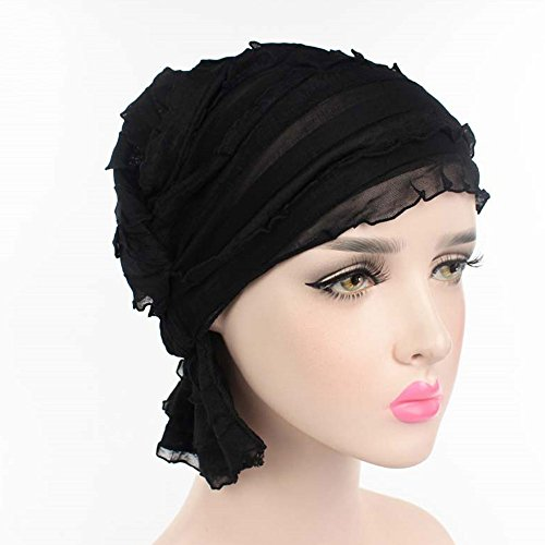 Chemo Cap,ASDOMO Ruffle Solid Color Hat Bonnet Cotton Soft Beanie Head Chemo Cap Cover Headwear For Chemo Hair loss Women Men