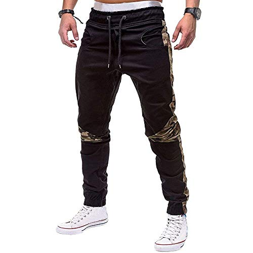 Camouflage Matita A Pantaloni Athletic Dritta Jeans Fit Nero Casual Moda Uomo Slim Gamba wUqHcPqA4