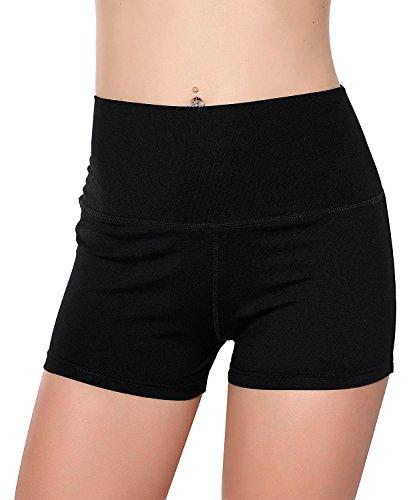 Unicorn scholar Womens Stretch High Waist Athletic Yoga Shorts (Medium, Black) (Tops To Wear With High Waisted Shorts)
