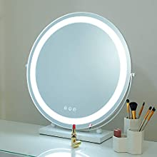 """SHOWTIMEZ Lighted 19.69"""" Round Vanity Mirror, Tabletop 360 Degree Rotation Makeup Mirror with LED Strip and Touchscreen Control"""