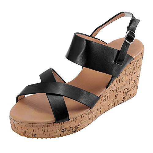 vermers Women Casual Boho Peep Toe Breathable Beach Sandals Women Fashion Buckle Strap Casual Wedges Shoes(US:8, Black)