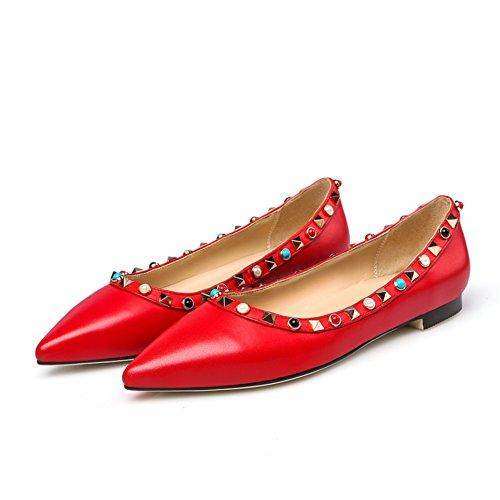 Zapatos planos de luz en la primavera/La versión coreana de las moda zapatos puntiagudos/remache zapatos de Joker B