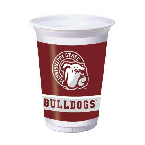 8-Count 20-Ounce Plastic Party Cups, Mississippi State Bulldogs - Mississippi State Msu Bulldogs