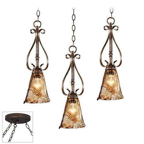 Amber Scroll Bronze 3-Light Swag Chandelier - Franklin Iron Works