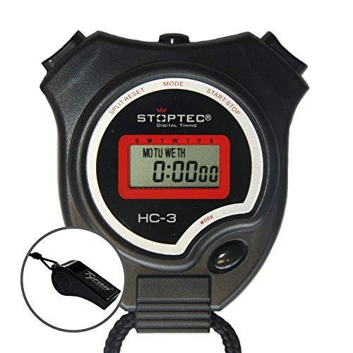 Schütt Stoptec HC-3 Stopwatch met fluitje – digitale stopwatch | hobby | sport | vrije tijd | spatwaterdicht | geschikt…