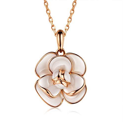 AllenCOCO 18K Gold Plated Enamel Rose Flower Pendant Necklace for - Enamel Necklace Flower Pendant