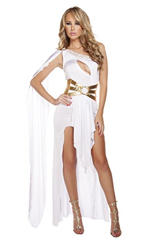 Greek Olympian Costume (2 Piece Greek Goddess Aphrodite Athena Olympian White Gown Dress Costume)