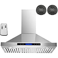 AKDY 36 Convertible Wall Mount Stainless Steel Ductless/Ventless Range Hood with Remote